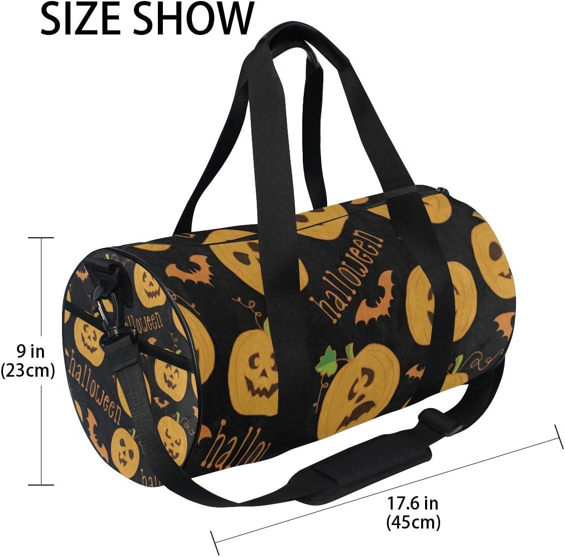 Gym Bag Halloween Cartoon Pumpkin Bat Black Women Canvas Duffel Bag Cute Sports Bag for Girls