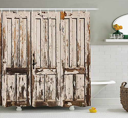 Rustic Shower Curtain Vintage House Entrance with Vertical Lined Old Planks Distressed Hardwood Design Fabric Bathroom Decor Set with Hooks Beige