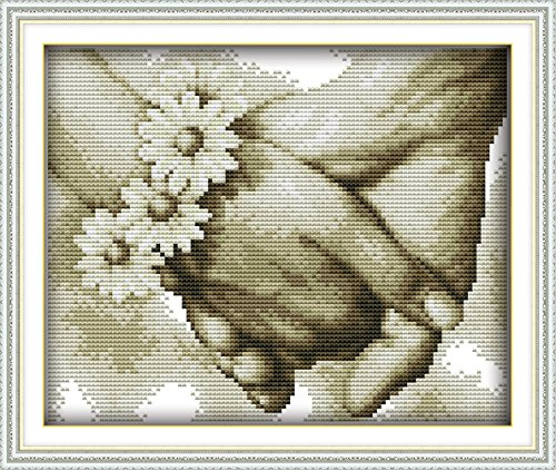 YEESAM ART New Cross Stitch Kits Advanced Patterns for Beginners Kids Adults - Hand In Hand 11 CT Stamped 34×26 cm - DIY Needlework Wedding Christmas Gifts ()