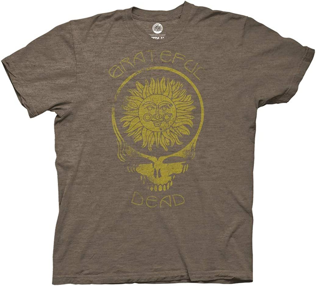 Ripple Junction Grateful Dead Adult Unisex Steal Your Face Sun with Curved Type Light Weight Crew T-Shirt