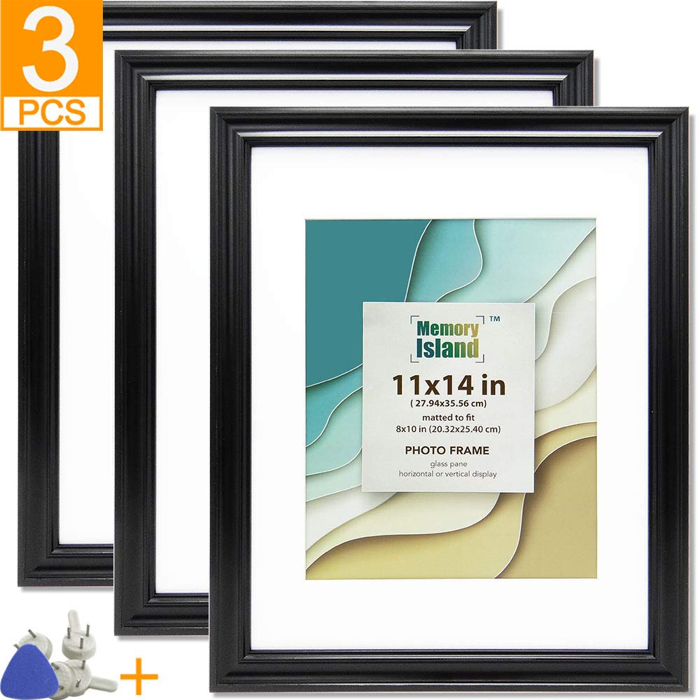Memory Island, 11x14 Picture Frames with 8x10 Mat, Wall Decor Photo Frame, Set of 3 Pack in Black. Glass Fronts Frame. by Memory Island