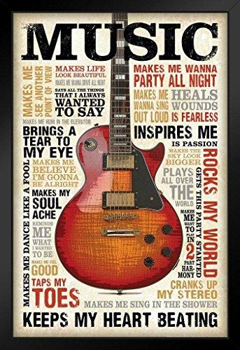 Music Inspires Me Motivational Art Print Framed Poster 14x20 inch