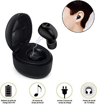 Auriculares Bluetooth, atongm Mini Auriculares inalámbricos con Caja de Carga, 24 Horas de Tiempo de conversación,Auriculares para automóvil para iOS y Android PCi(una PC): Amazon.es: Electrónica