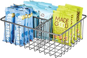mDesign Farmhouse Decor Metal Wire Food Organizer Storage Bin Baskets for Kitchen Cabinets, Pantry; Organizer for Fruit, Yogurt, Snacks, Bars, Chips, Rice, Pasta - Graphite