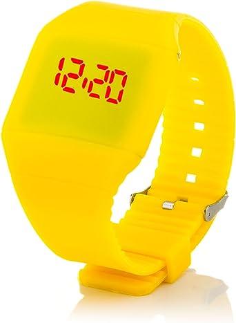 c.d.r. silicona reloj digital LED reloj de pulsera LED Watch digital reloj amarillo: Amazon.es: Relojes