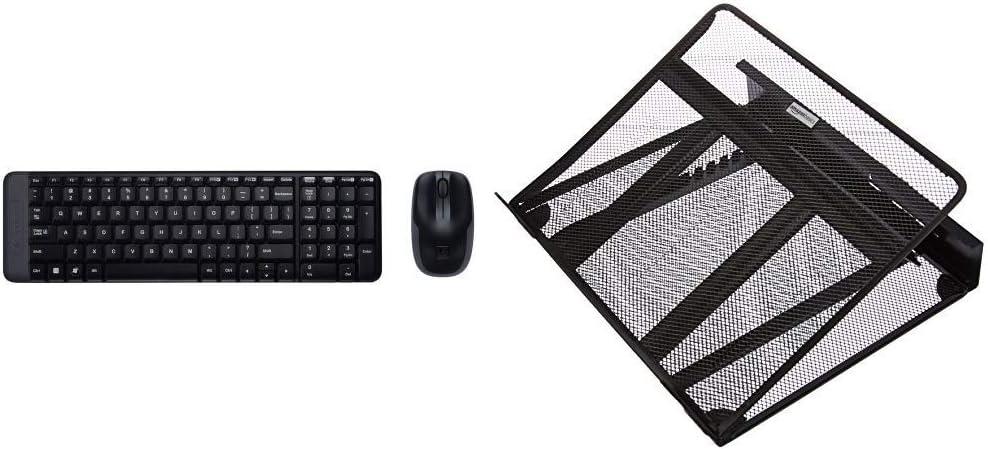 Logitech MK220 - Pack de Teclado y ratón inalámbrico con USB, Negro - QWERTY Español & AmazonBasics - Soporte Ajustable ventilado para portátil: Amazon.es: Informática