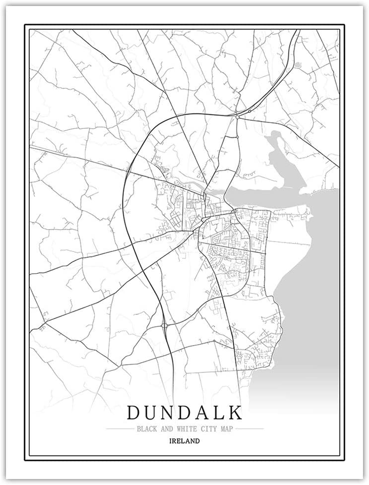 Prints Canvas,Ireland Dundalk City Map Wall Art Black White Poster Mural Pictures Minimalist Painting Modular Pop Sketch Simple Living Office Space Vertical Personalised Decoration,70Cm X 100Cm/27.5