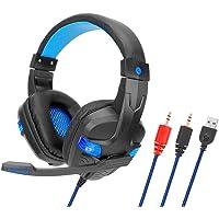 Andoer SY860MV Gaming Headset 3,5 mm com fio sobre a orelha Fone de ouvido com cancelamento de ruído com microfone LED…