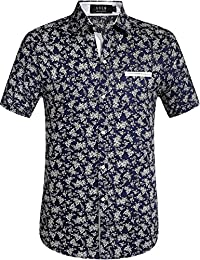 Men's Floral Hawaiian Button Down Casual Short Sleeve Shirt