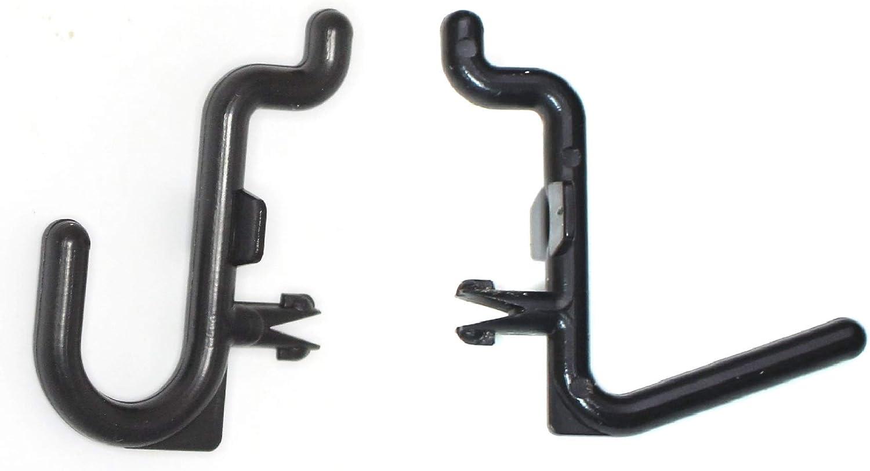 Black Pegboard Locking Hooks 25 J Hooks /& 25 L Hooks 50 pack