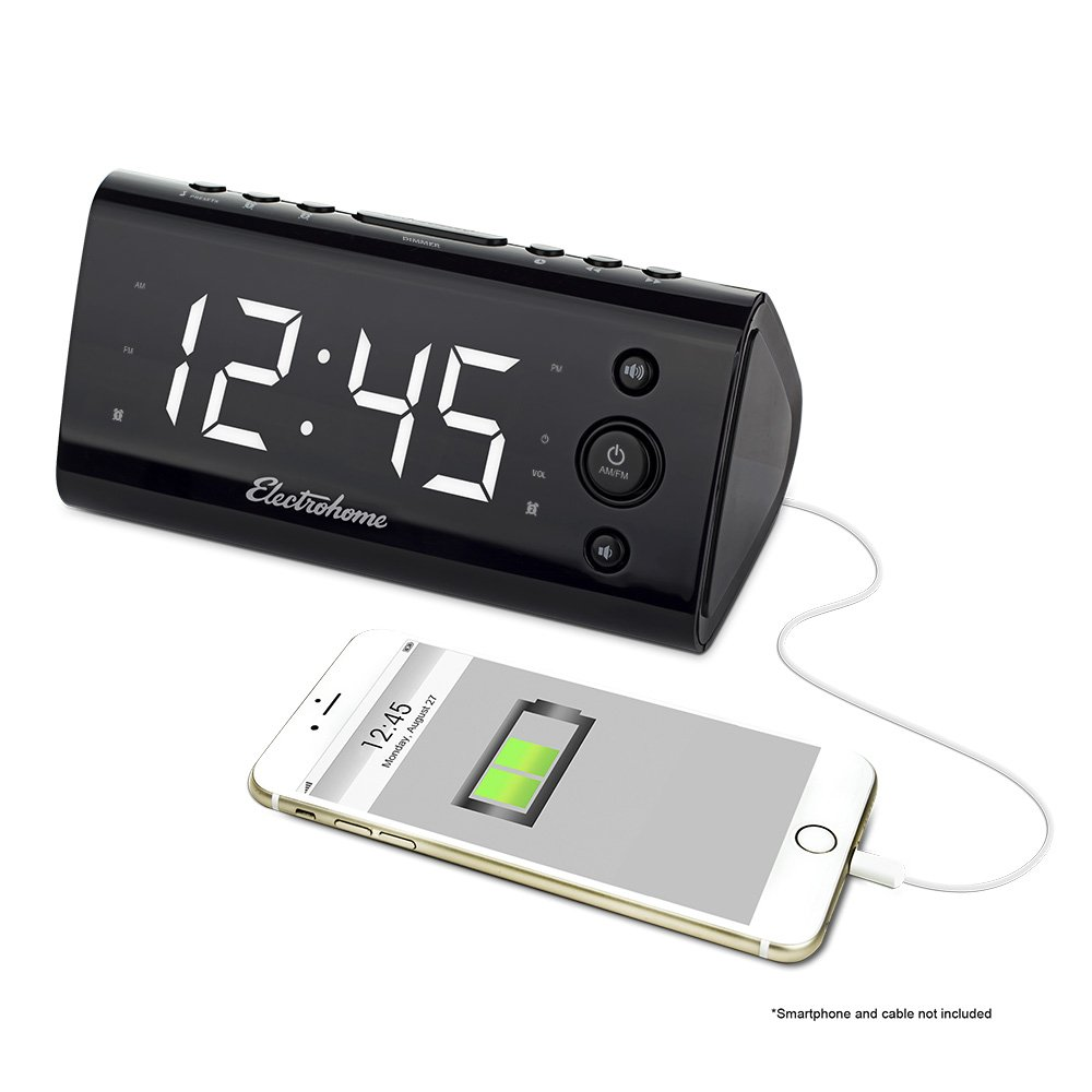 Electrohome Alarm Clock Radio with USB Charging for Smartphones & Tablets includes Dual Alarm, Battery Backup, Auto Time Set & 1.2'' LED Display with 4 Dimming Options (EAAC470W)