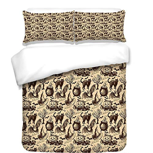 iPrint 3Pcs Duvet Cover Set,Vintage Halloween,Symbols of Halloween Witch Hat Cauldron Fall Jack o Lantern Black Cat Decorative,Light Brown,Best Bedding Gifts for Family/Friends for $<!--$98.89-->