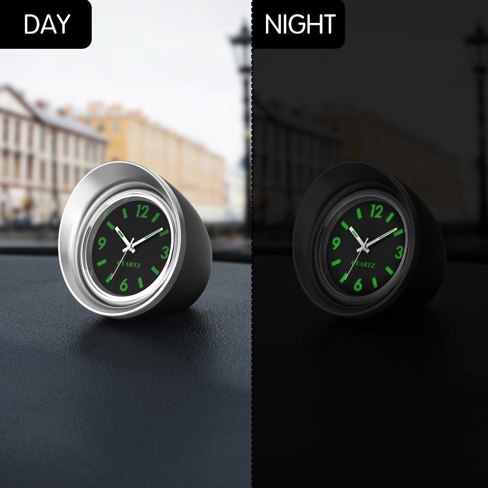4.5cm//1.8 FORNORM Auto Quartz Uhr Quartz Uhrwerke KFZ Uhr Analog mit Schwarzes Zifferblatt Schwarz Schale Batterie Einbauuhr f/ür Auto