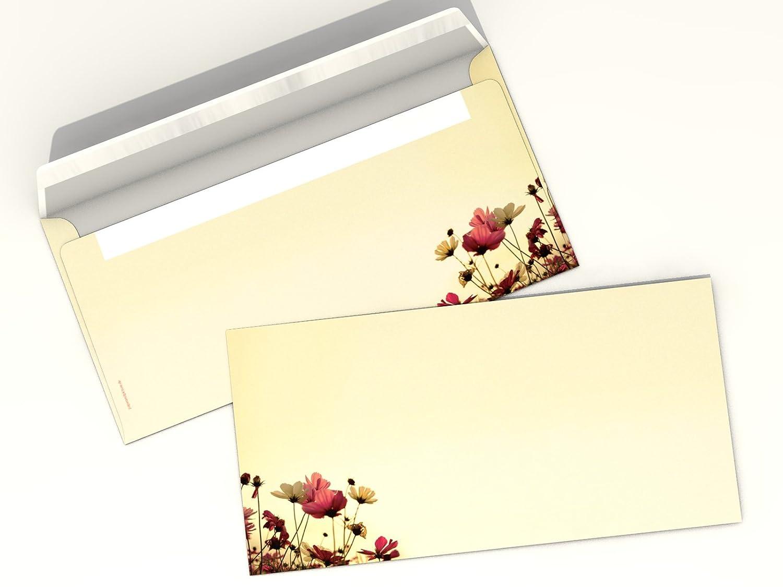 f/ür Laser//Ink//Copy//Hand 20/komplett bedruckte Briefumschl/äge DIN LANG Motivpapier-SetSunny Flowers 20/Blatt A4/