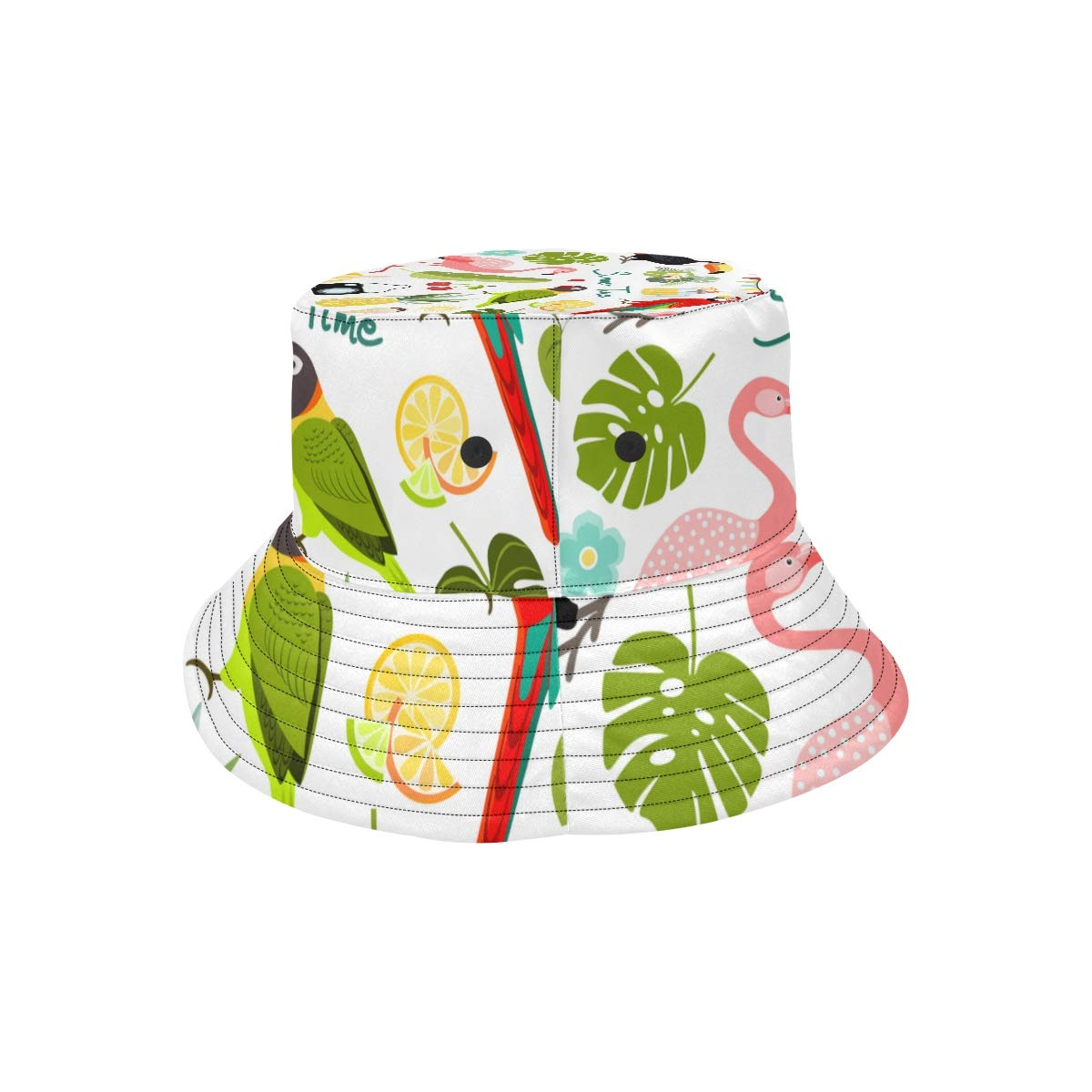 Summer Watermelon Bird Flamingo New Summer Unisex Cotton Fashion Fishing Sun Bucket Hats for Kid Teens Women and Men with Customize Top Packable Fisherman Cap for Outdoor Travel