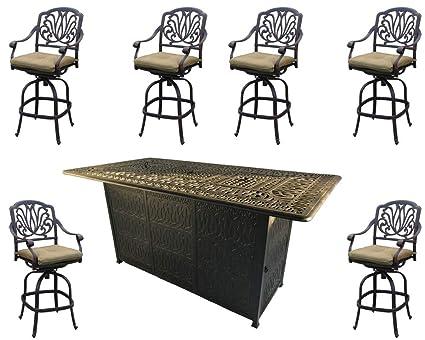 Brilliant Sunvuepatio Fire Pit Dining Table Set Outdoor Propane Heater Elisabeth Bar Stools Cast Aluminum Furniture Home Interior And Landscaping Spoatsignezvosmurscom