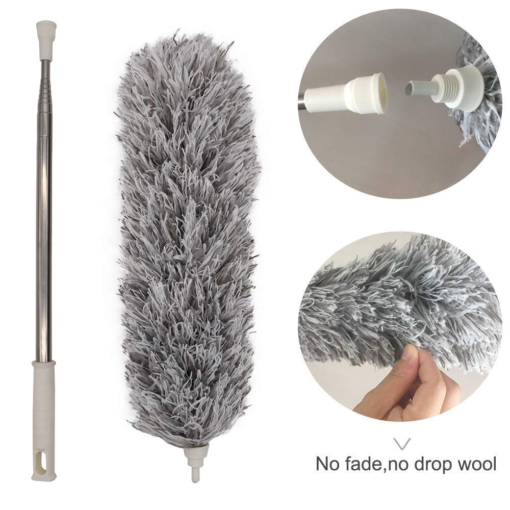 Microfiber Duster for Cleaning with Extension PoleReaches 100 Inches,LECAMEBOR Flexible and Extendable Duster for Cleaning Ceiling Fan/Furniture/Keyboard/Cobweb-Upgraded by LECAMEBOR (Image #6)