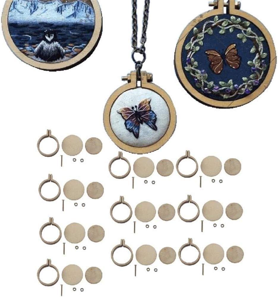 20 St/ück Mini-Stickrahmen aus Holz natur Seidenmalerei Kreuzstich-Ring-Set S//3x2.5cm Bambus zum Sticken Kreuzstich-Rahmen Quilten handgefertigt Nadelspitzen kleine Stickerei