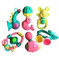 SAISAN Set Lovely Colourful Rattle Toys for Toddler Based on Theme of Sound Shaking for Baby/Infant/Child (6 Pcs)