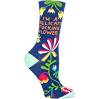 Blue Q Women's Novelty Crew Socks - I'm a delicate fucking flower (Womens Size 5-10) With Sock Ring