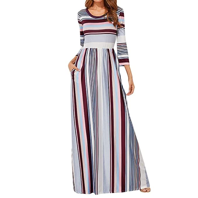805208cb067 XILALU Women s Casual O Neck Elastic Waist Striped Printed Three Quarter  Sleeve Beach Maxi Dress with