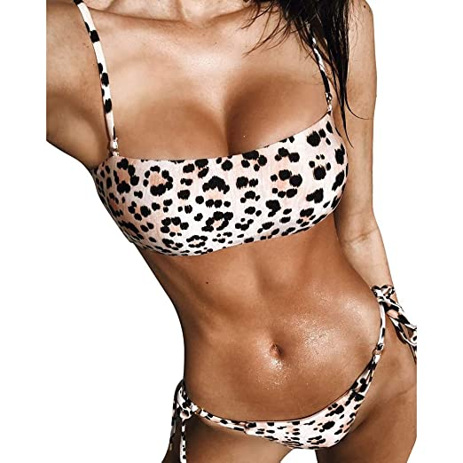 5513ec2e63a0 Loveso Women's Sexy Leopard Bikini Bikini Tube top Swimwear Beachwear  Two-Piece Suit Brown