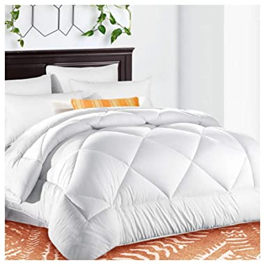 King Comforter Soft Quilted Down Alternative Duvet Insert with Corner Tabs Summer Cooling 2100 Series,Luxury Fluffy Reversible Hotel Collection,Hypoallergenic for All Season,Snow White,90 x 102 inches