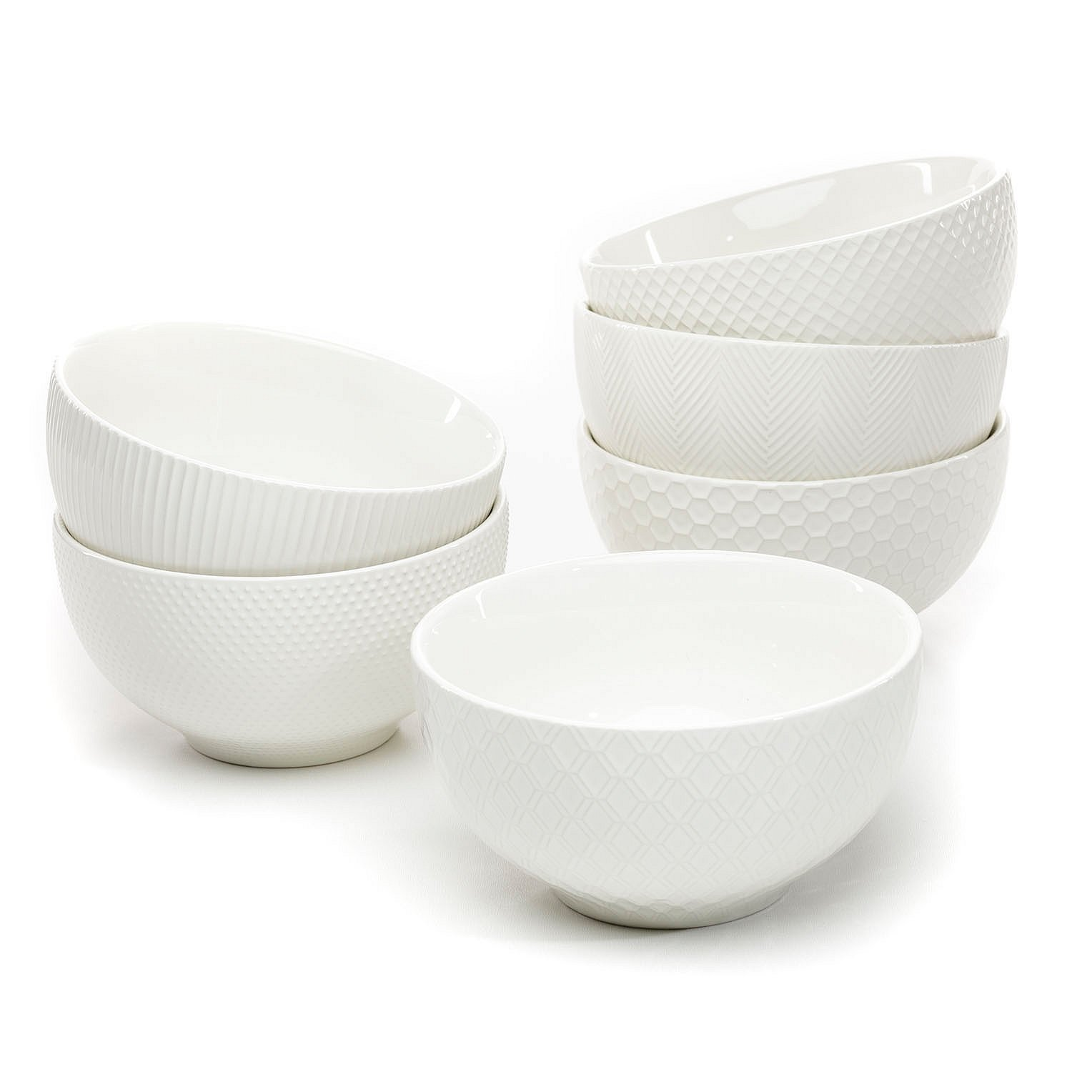 Amazon.com: Member\'s Mark Ceramic Textured Stoneware Bowls, Set of 6 ...