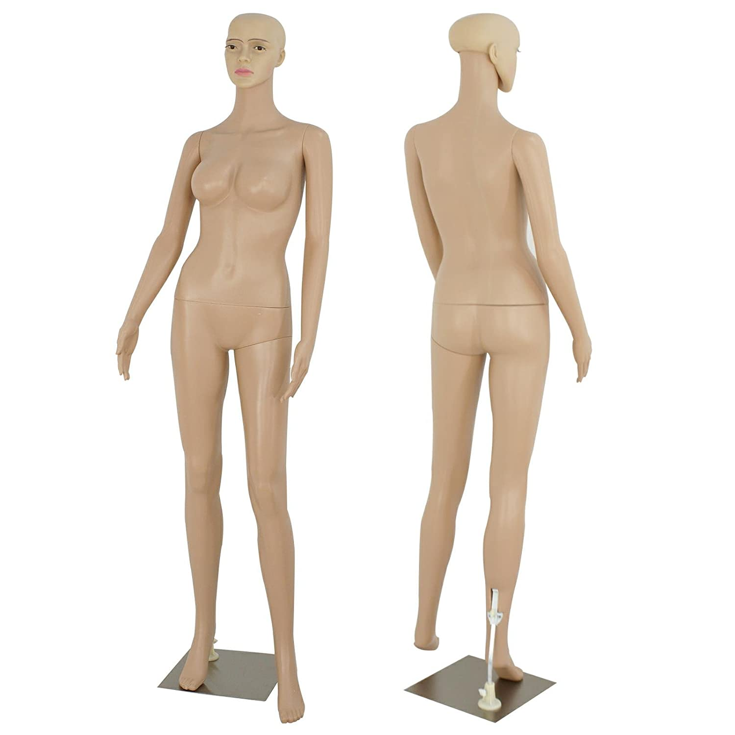 ZENY Full Body 68.9 Height Realistic Female Mannequin Display Head Turns Dress Form w/Base, Detachable Plastic Slapped Adjustable Dressmaker Dummy Standing Adult Plastic Mannequin