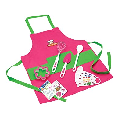 Curious Chef Children's 11-Piece Pink & Green Chef's Kit: Home & Kitchen
