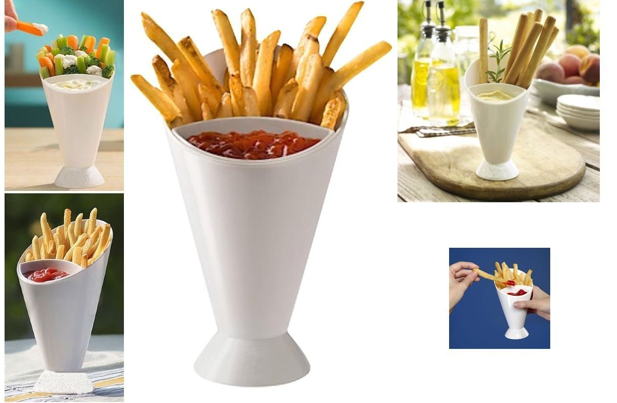 2 Tasty Dipper Cone French Fries Dip Fry Sauce Chutneys Chip Dish Ketchup Snack Holder Plastic Finger Food Party Outdoor Garden Veggies Bowl Serving Stand Concept4u