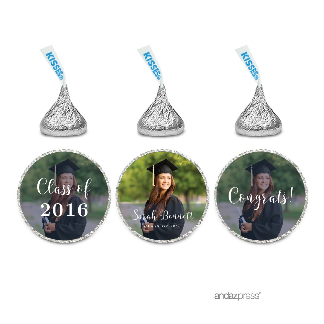 Andaz Press Photo Personalized Storybook Graduation Collection, Chocolate Drop Labels for Hershey's Kisses, 216-Pack, Custom Image