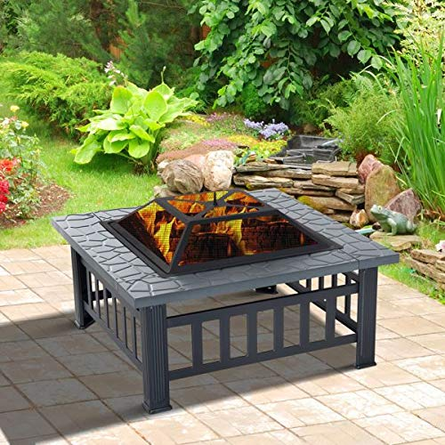 32″ Square Fire Pit Outdoor Heating Fireplace Patio Wood Burning Table Top Set Poker Spark Screen Waterproof Cover Garden Yard Ice Pit BBQ