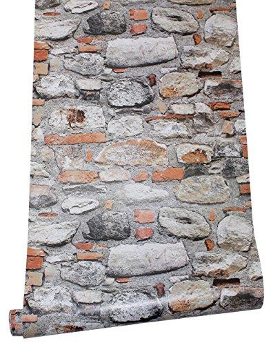 HaokHome 620642 Peel & Stick Rock Stone Wallpaper Orange/Tan/Grey Self Adhesive Contact Paper Wall Furniture Sticker free shipping