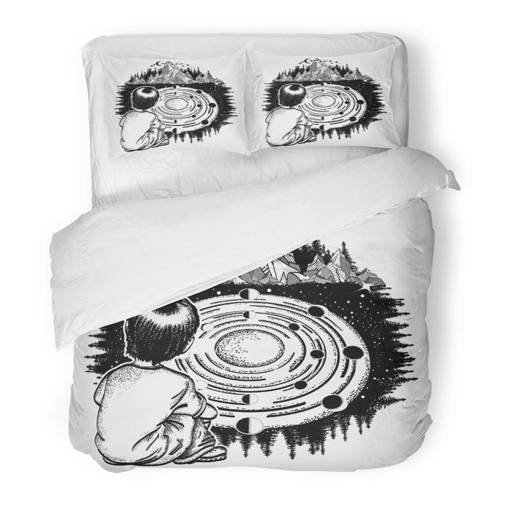 Emvency 3 Piece Duvet Cover Set Brushed Microfiber Fabric Dreamer Tattoo Ingenious Boy Studies Solar System Symbol of The Universe Galaxy Breathable Bedding Set with 2 Pillow Covers Full/Queen Size