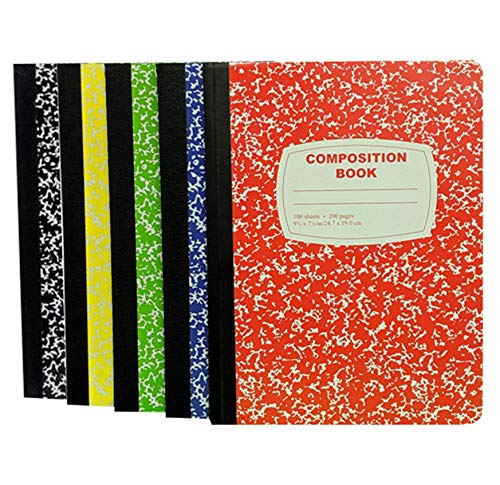 100 Sheet Composition Notebooks - School Supplies Bundle - 5 College Ruled Composition Notebooks - 1 Black, 1 Red, 1 Green, 1 Blue, and 1 Yellow (College Ruled)