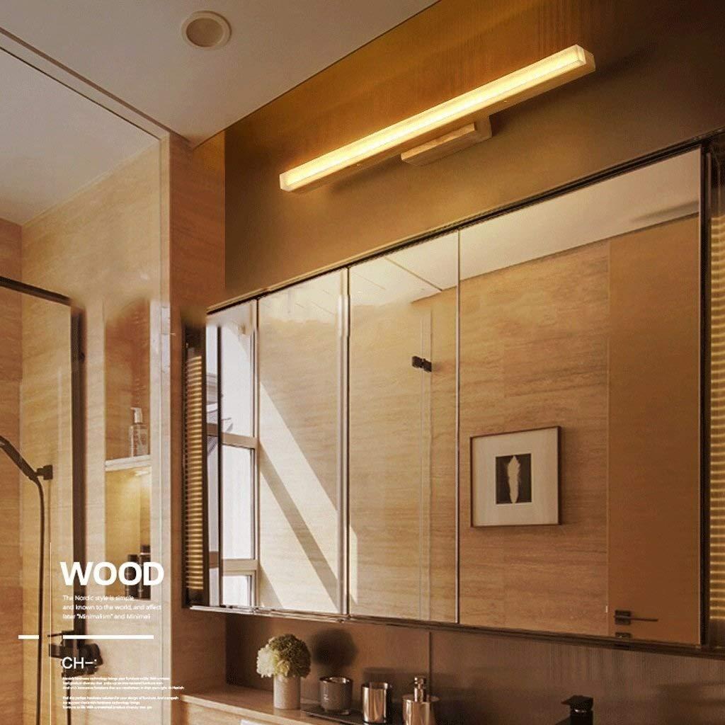 LSRRYD Spiegelleuchten Badbeleuchtung Wasserdicht und Antibeschlag Massivholz-Wand-Lampe Color : Warm White-13w80cm feste h/ölzerne Spiegel-vordere Lichter wasserdichtes Holz Wandbeleuchtung