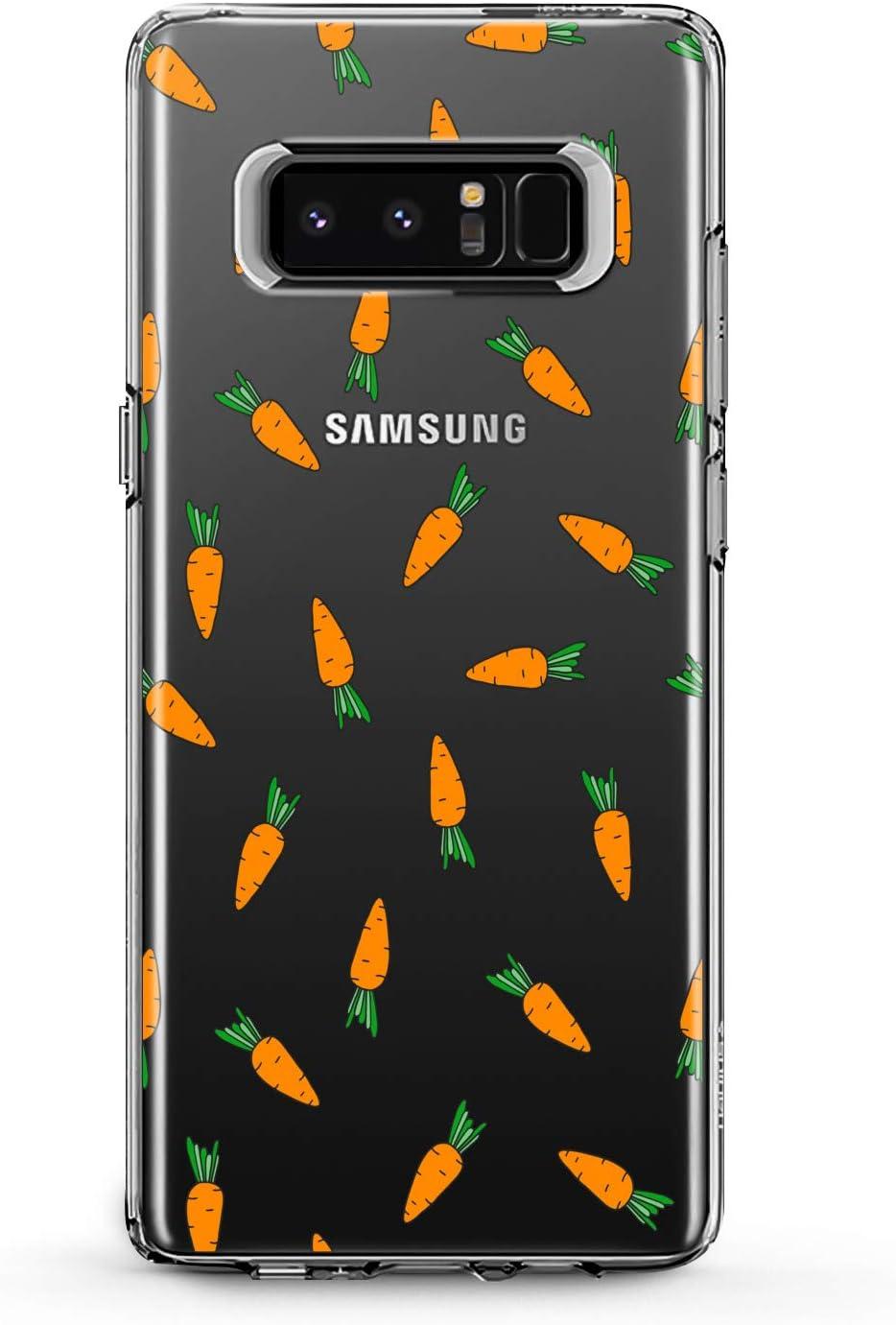 Anreda TPU Case Compatible with Samsung Galaxy J8 J7 Prime J6 Plus J5 J4 Core J2 Smooth Cover Print Art Design Carrots Pattern Food Clear Cute Bright Kids Orange Bunny Lady Soft Flexible Gift Slim fit