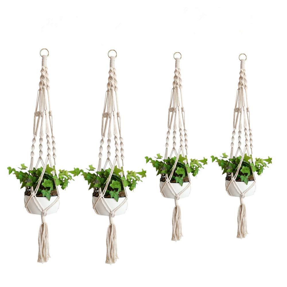 AROGEAR Macrame Plant Hanger Handmade Hanging Palnt Flower Pots Holder for Indoor Outdoor 2 Sizes 4 Pack
