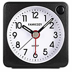 FAMICOZY Mini Size Alarm Clock, Quiet Non Ticking Travel Alarm Clock with Snooze and Nightlight,Gradually Increasing in Volume,Lightweight Analog Quartz Clock,Battery Operated,Black