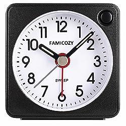 Mini Size Alarm Clock,FAMICOZY Quiet Non Ticking Travel Alarm Clock with Snooze and Nightlight,Gradually Increasing in Volume,Lightweight Analog Quartz Clock,Battery Operated,Black