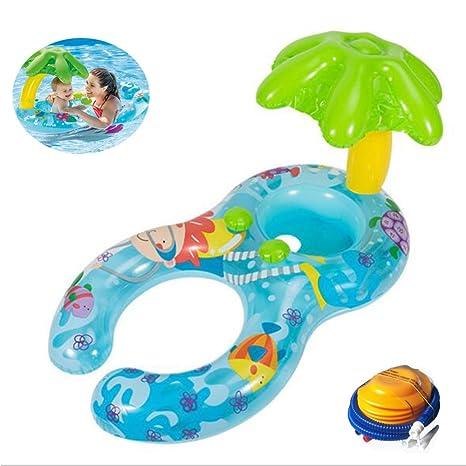 JYY Bebé Piscina Flotador Barco Entrenador Asiento Inflable Nadar Anillos Sunshade Kids - Juguetes De Piscina