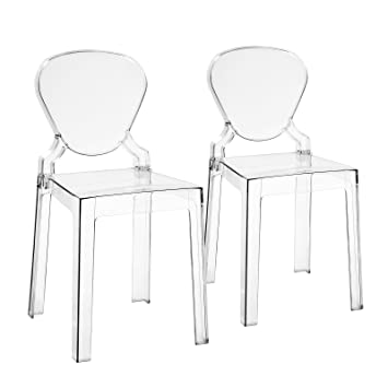 songmics lot de 2 chaises de salle manger transparente ghost chaise petite chaise - Chaise Salle A Manger Transparente