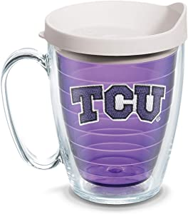 Tervis 1101335 TCU Horned Frogs Logo Tumbler with Emblem and White Lid 16oz Mug, Amethyst