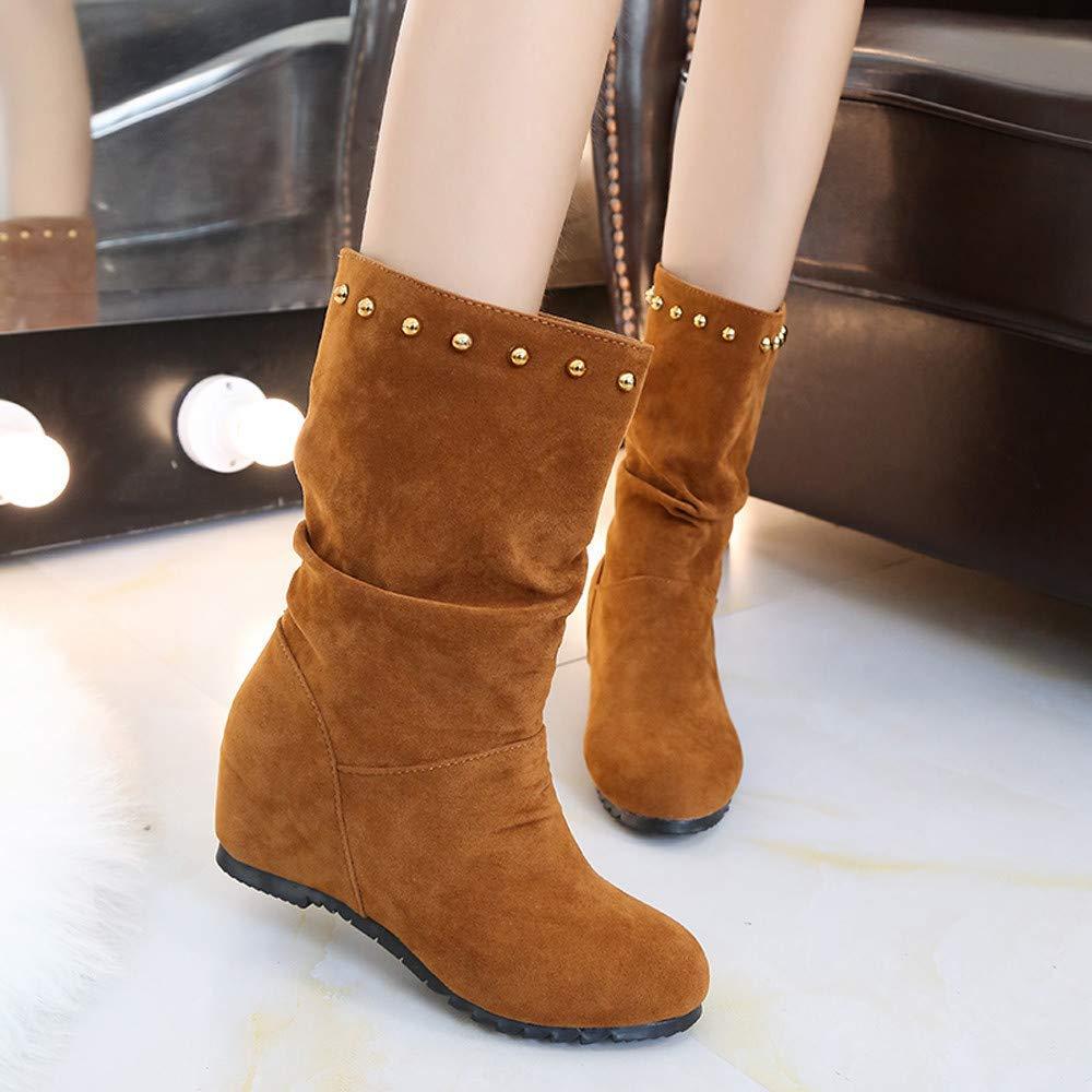 Martin Stiefel Damen Schuhe Schuhe Schuhe Mode Suede Round Toe Wedges Schuhe Reine Farbe Stiefelies Halten warme Nieten Schuhe Freizeitschuhe Kurze Stiefel Winterstiefel (Farbe   Braun, Größe   CN 36=EU 37) 02f653