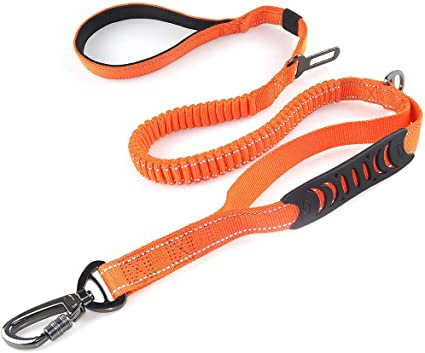 Multifunctional Dog Car Leash Seat Belt Bungee Dog Leash for Medium and Large Dogs 4-6 FT Double Handle Reflective Dog Leash for Walking Training Heavy Duty