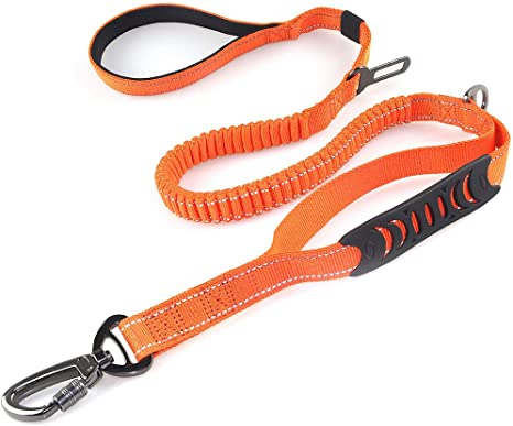 LEADSOM 6FT Highly Reflective Heavy Duty Elastic Bungee Medium and Large Dog Leash Shock Absorbing with Comfortable Padded Handle and Traffic Handle Suitable for Training
