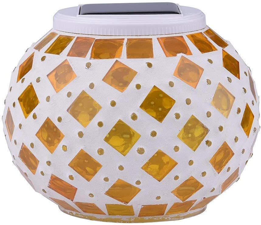 Color Changing Solar Powered Glass Ball Led Garden Lights, Rechargeable Solar Table Lights, Outdoor Waterproof Solar Night Lights Bright Lawn Lamps for Decorations, Ideal Gifts (Fire) (Yellow Square)