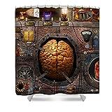 Pixels Shower Curtain (74'' x 71'') ''Steampunk - Information Overload''