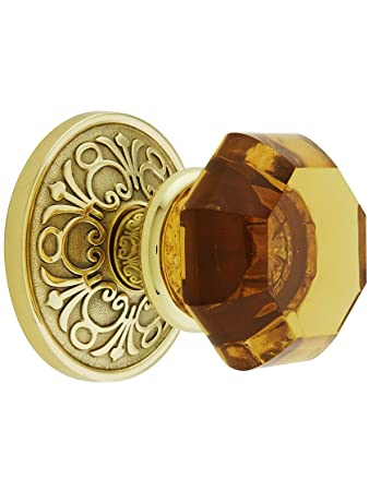 Lancaster Rosette Set With Amber Crystal Knobs Passage In Polished ...